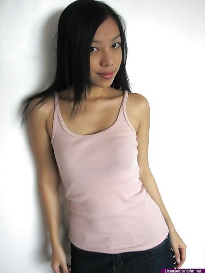 Skinny Asian girl reveals..