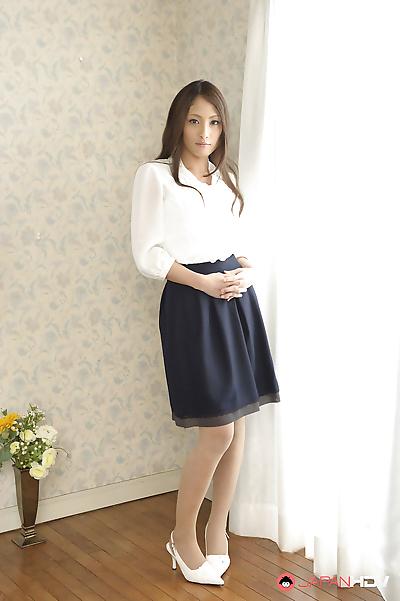 Pale Asian girl Aoi Miyama..