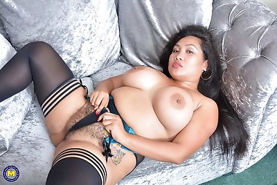 Big breasted asian mature..