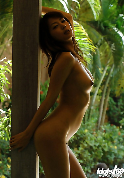 Alluring asian babe with..