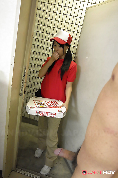 Japanese pizza delivery girl Miku Oguri is greeted at door by a hard cock